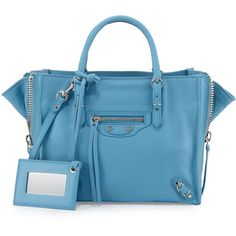 Balenciaga Papier A4 Mini Leather Tote Bag ($1,475) ❤ liked on Polyvore featuring bags, handbags, tote bags, bright blue, blue tote bag, mini tote, handbags totes, mini tote bag and blue leather handbags