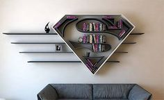 Best Superhero Wall Shelves for Kids of All Ages - Page 29 of 41 Creative Bookshelves, Bookshelf Design, Bookshelf Ideas, Shelving Ideas, Modern Bookshelf, Shelving Design, Kids Bookcase, Deco Scrabble, Diy Furniture