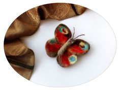 Free shipping. Needle felted  butterfly brooch. by ZaborkaArt