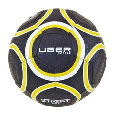 a874fea68 Uber Soccer Urban Street Soccer Ball - Size 5 - Black/Yellow - Vulcanized  Rubber