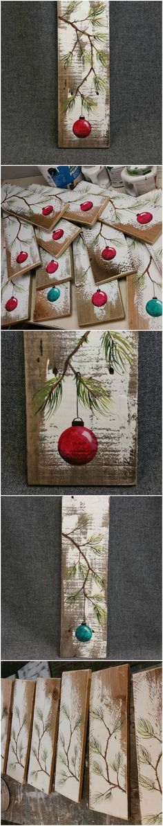 "RED Hand painted Christmas decoration, GIFTS UNDER 25, Pine Branch with Red Bulb, Reclaimed barnwood, Pallet art, Shabby chic Original Acrylic painting on reclaimed barnwood boards. This unique piece is appx. 17"" tall by 5 1/4"" wide. It is a fun, personal touch to add to your Christmas decor or a great gift for teachers. The CHRISTMAS bulb can be ordered in any color!! #christmas_crafts_pallets"