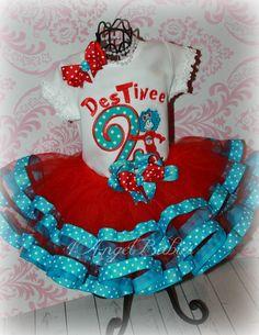 Miss Thing 1 or 2 Dr. choose name, number, colors Dr Seuss Birthday Party, Cat Birthday, Birthday Tutu, 2nd Birthday Parties, Ribbon Tutu, Grosgrain Ribbon, Prince And Princess, Disney Princess, Angel Babies