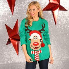 Groene 3D dames kersttrui met lichtjes. Deze groene trui met een afbeelding van een rendier is voorzien van lichtjes. Voor een zingende, dansende kersttrui hoeft u niet verder te zoeken dan deze verlichte 3D kersttrui! Materiaal: 100% acryl.