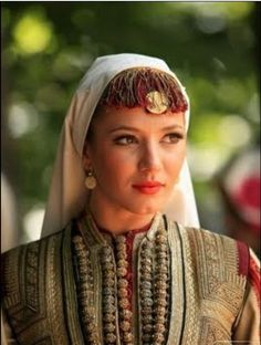 Macedonian woman in a traditional Macedonian costume. (Republic of Macedonia, Southern Europe)