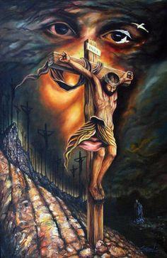 Jesus by Luis Miguel Rodriguez, 1959 Jesus Christ Painting, Jesus Art, Christ Tattoo, Jesus Tattoo, Catholic Art, Religious Art, Hannya Samurai, Des Photos Saisissantes, Image Jesus