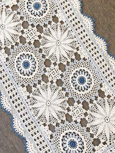 Vintage Crochet Doily, blue and white rectangular cotton doily, vintage doilies, vintage lace, vintge decor