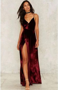 97ee32ce443f Burgundy Velvet Maxi Backless Party Dress