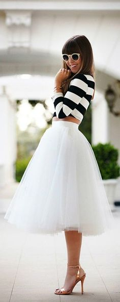 Women's White and Black Horizontal Striped Cropped Top, White Tulle Midi Skirt, Gold Leather Heeled Sandals, Beige Sunglasses