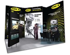 Creating a striking stand for US-listed corporation, Line-X, was a exploration in design processes. We developed an exhibition space that incorporated a small meeting area, concealed storage, plasma televisions, literature dispensers, freestanding plinth, and dramatic colours and imagery to promote their professional and government quality products. #exhibitions #tradeshow #exhibitionstand #LINEX #creativethinking #design
