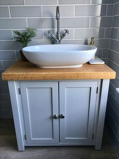 Rustic Chunky Farrow & Ball Painted Solid Wood Bathroom Washstand Vanity Sink Unit any colourNot included sinks/taps MEDIUM 6 SIZES Sink Vanity Unit, Bathroom Sink Cabinets, Small Bathroom Vanities, Sink Taps, Bathroom Basin, Wood Bathroom, Small Bathroom Designs, Cloakroom Basin Vanity Units, Small Vanity