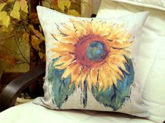 Van gogh sun flower pillow   Peru linen painted cushion by SABDECO, €33.00