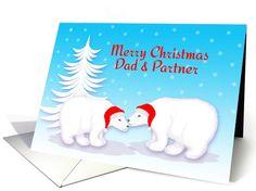 Gay Dad Christmas Humor Snuggling Polar Bears in Snow card