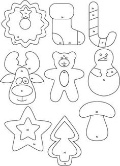 Christmas Ornament Template, Christmas Templates, Felt Christmas Decorations, Felt Christmas Ornaments, Christmas Crafts Sewing, Holiday Crafts, Christmas Makes, Christmas Diy, Christmas Coloring Pages