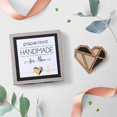 Geometric Heart Brooch, Wood Jewellery, Laser cut Wood, Walnut Wood, Heart pin, Personalized box, Gold Mirror, Wood Heart