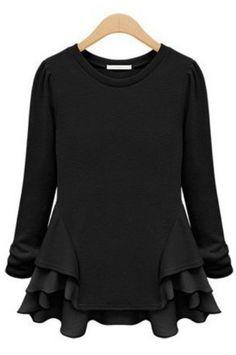 Black Long Sleeve Contrast Chiffon Ruffles T-Shirt -SheIn(Sheinside)
