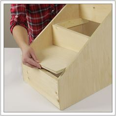 Give your pup a leg up with these easy-to-assemble pet steps. Dog Stairs For Bed, Dog Steps, Pet Steps For Bed, Dog Ramp, Cat Care Tips, Pet Care, Animal Projects, Wood Projects, Diy Bed