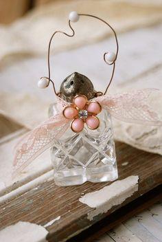 Vintage shabby chic salt shaker ornament. Tiedupmemories