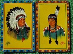Indian-Chief-Maiden-Native-Americans-Swap-Cards-Beautiful-Colors-Vintage-MINT