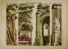 Imagerie d'Épinal, No 1681. Grand Théâtre Nouveau. Jardin et Parc - Coulisses.