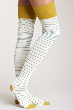 White and Blue Striped Over-the-Knee Socks with Mustard Yellow Details