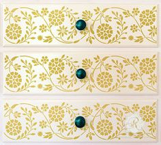 Floral Indian Border Stencil for Furniture by Royal Design Studio Stencils