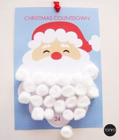 Get ready to countdown to Christmas with the kids with this Santa Christmas Countdown Calendar. Print this instant printable, then use cotton wool balls to make santa's beard… see the e…