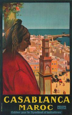 casablanca maroc essi : circa 1930 affiches anciennes de BRINDEAU