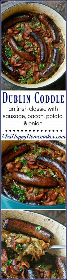 Coddle - an Irish classic with sausages, bacon, potatoes, & onion. You can use bratwurst if you like too. Perfect for St. Sausage Recipes, Pork Recipes, Pasta Recipes, Dinner Recipes, Cooking Recipes, Healthy Recipes, Bratwurst Recipes, Shrimp Recipes, Casserole Recipes