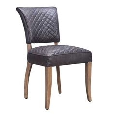 Timothy Oulton Mimi Destroyed Leather Quilted Dining Chair, Black | Dining Chairs | Dining Room