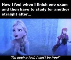 How I feel when I finish an exam and then have another straight after... Sing it, Elsa!