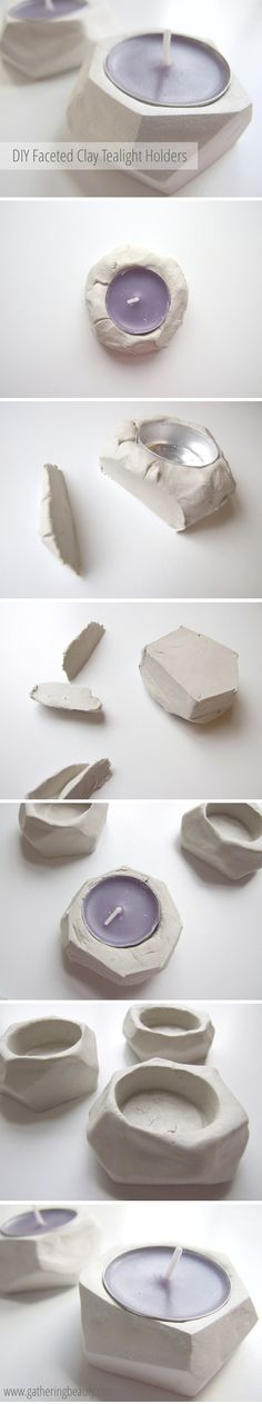 DIY geometric faceted clay tea light holders made from air drying clay