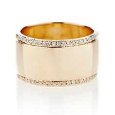 This wide gold band with pave edges is availablein 14K White, Yellow or Rose Gold. *Please allow 6-8weeks for delivery.