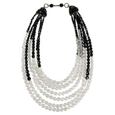 Coppola e Toppo black and clear half crystal necklace 1950s | From a unique collection of vintage beaded necklaces at https://www.1stdibs.com/jewelry/necklaces/beaded-necklaces/