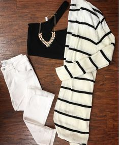 Tre Chic ✨📸💐 :::CoZy Chic all SEASON long:::  •Striped Cardigan ($49) •Distressed Denim ($74) •Sassy Black Crop Top ($21) • Statement Necklace ($21)///Pair with wedges; peek toe booties; sandals for alternative looks  . For immediate assistance or to ORDER call ️☎️701-356-5080 (We Ship📦