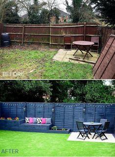 artificial_grass_garden_makeover_before_after - Annelies Schutten Tuin ideeën Backyard Seating, Backyard Patio Designs, Small Backyard Landscaping, Backyard Projects, Landscaping Ideas, Fenced In Backyard Ideas, Inexpensive Backyard Ideas, Simple Backyard Ideas, Backyard Ideas On A Budget