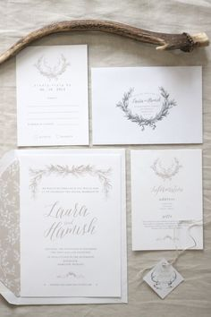 Wedding Invitation Design by Just My Type - deer & wreath