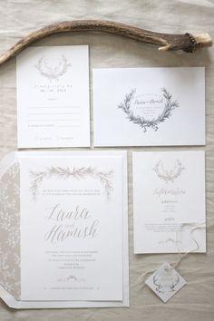 Wedding Invitation Design by Just My Type - deer & wreath