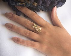 14K Gold Ring Diamond Ring Handmade Jewelry by nuritdesignjewelry