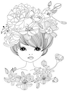 Illustration about Illustration of sketch girl and flower. Illustration of girl, lady, blossom - 47660645 Printable Adult Coloring Pages, Coloring Pages For Girls, Colouring Pics, Doodle Coloring, Coloring Pages To Print, Coloring Book Pages, Coloring For Kids, Flower Coloring Pages, Colorful Drawings