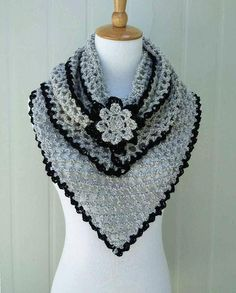Best 12 Crochet Triangle Scarf Shawl Wrap with Flower Brooch Crochet Cowel, Crochet Triangle Scarf, Crochet Scarves, Crochet Clothes, Crochet Flower Scarf, Crochet Shawl Diagram, Crochet Motif, Crochet Lace, Crochet Stitches