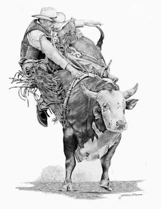 Bull Rider by graphiteartistaz on DeviantArt Cowboy Art, Cowboy And Cowgirl, My Drawings, Pencil Drawings, Bucking Bulls, Westerns, Rodeo Time, Bull Tattoos, Rodeo Cowboys