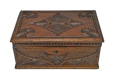 Vintage Frisian Hand Chip Carved Jewelry Chest, Dutch. #ChipCarved
