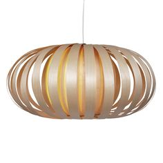 Scallop shaped and luminous, Tom Rossau's ST903 Extra Large pendant comes in natural birch.