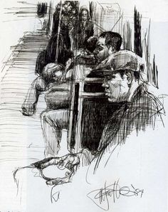 Morning Rush Hour by Marvin Franklin, 2004, ink drawing, 14 x 11.