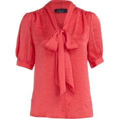 Coral satin pussybow blouse (1.245 RUB) ❤ liked on Polyvore featuring tops, blouses, shirts, blusas, women's clothing, red short sleeve shirt, red blouse, shirt blouse, short-sleeve shirt and coral top