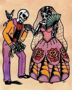 Dia de los Muertos WEDDING COUPLE Day of the by illustratedink, $15.00