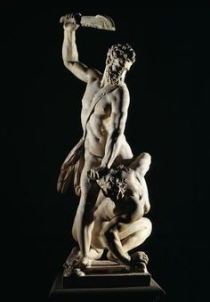 Marble statue of Samson slaying a Philistine, by Giambologna, Florence, Italy, about 1562. Museum no. A.7-1954, © Victoria and Albert Museum...