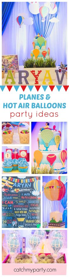 Fly away with this fun Hot Air Balloon and Planes Birthday Party! Such a cute cake! See more party ideas and share yours at CatchMyParty.com
