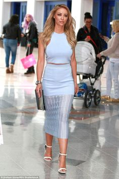 Looking good: The Only Way Is Essex star looked stylish in lazer cut co-ordinates as she t...