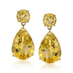 14.00 ct. t.w. Citrine Earrings In 14kt Yellow Gold